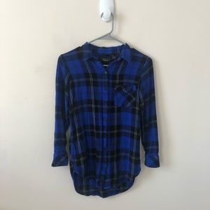 Rails Blue and Black Plaid Long Sleeve Top-Size XS